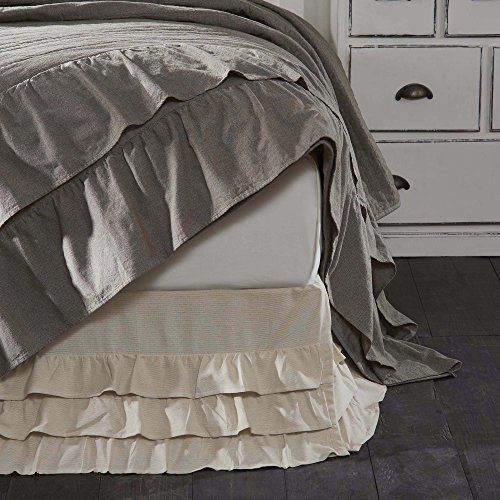 Vintage Bedskirt - Piper Classics Ruffled Chambray Natural Twin Bed Skirt, 39x76x16, Farmhouse Style