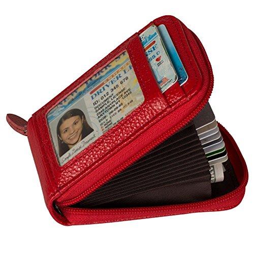 Noedy RFID Blocking Credit Card Case Organizer Genuine Leather Zip-Around Security Wallet Red