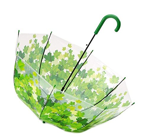 Bubble Umbrella Transparent Thicken PVC Mushroom Green Leaves Rain Clear Leaf (green) Agitator Holder