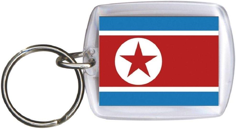 Perspex /• Flag Keychain; North Korea /• Brand New Size Approximately 4/cm x 6/cm Country Flag Keyring Keyholder 81122
