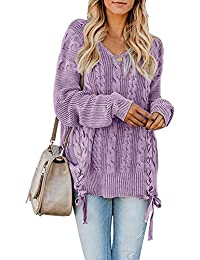 bc5ec522d3 Womens Pullover Sweaters Plus Size Cable Knit V Neck Lace Up Long Sleeve  Fall Jumper Tops