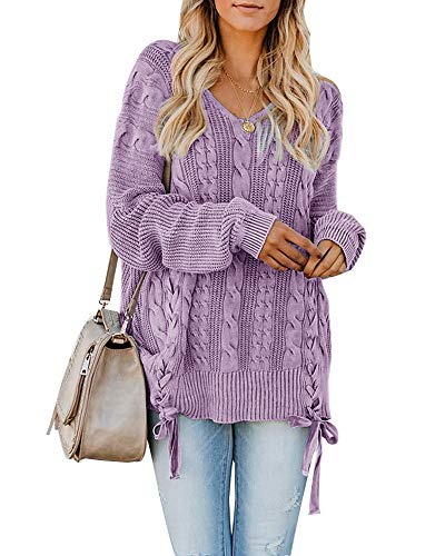 - Womens Pullover Sweaters Plus Size Cable Knit V Neck Lace Up Long Sleeve Fall Jumper Tops Purple