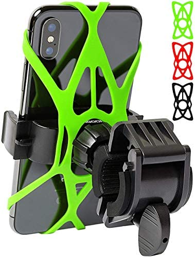 Mongoora Bike & Motorcycle Phone Mount w/ 3 Bands (Black, Red, Green) Cell Phone Holder for Bicycle Handlebar Easy to Install Bike Accessories