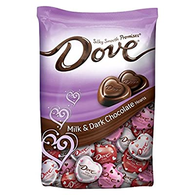 DOVE PROMISES Valentine Milk and Dark Chocolate Candy Hearts Variety Mix