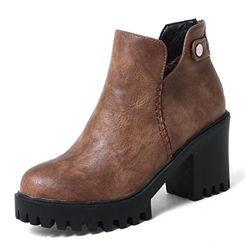 Kaloosh Women's Comfortable Round Toe Flat Lace up Ankle Boots 4ms7cOh