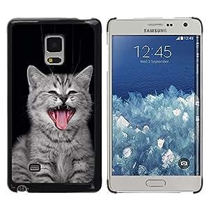 Caucho caso de Shell duro de la cubierta de accesorios de protección BY RAYDREAMMM - Samsung Galaxy Mega 5.8 - Gato del bostezo