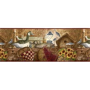 International Country Cabin Wallpaper Border Bird Decoys
