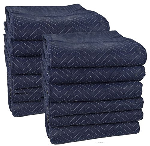 Cheap Cheap Moving Boxes 72 x 80 Inches Pro Moving Blankets, Pack of 12, Blue/Black (MB104) ()