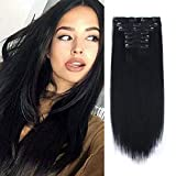 Lovrio 9A Grade Clip in Human Hair Extensions #1 Jet Black Color Double Weft Thicker Remy Hair Clip on Hair 16 inch 120g 7 pieces 18 clips