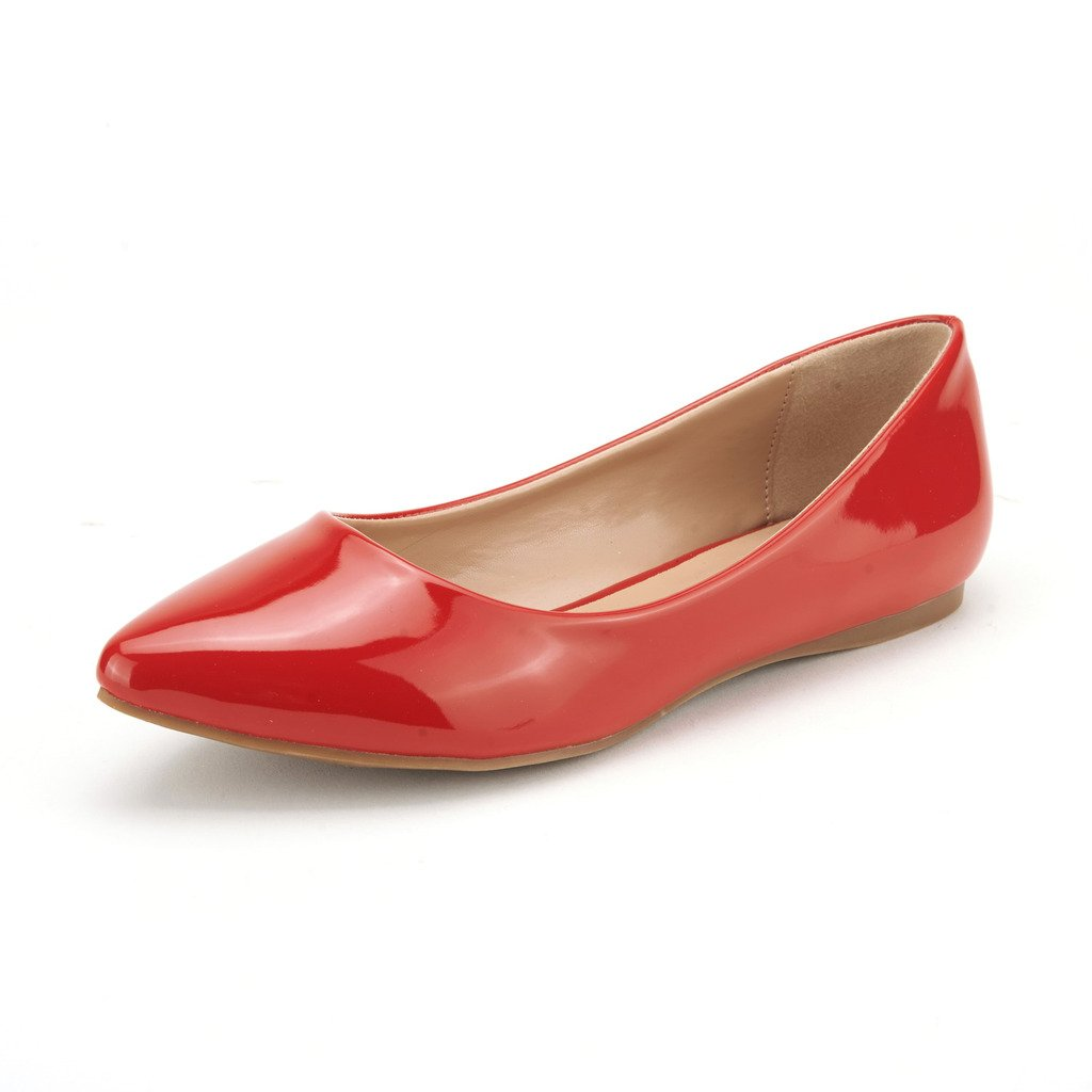 DREAM PAIRS Sole Classic Women's Casual Pointed Toe Ballet Comfort Soft Slip On Flats Shoes RED Pat Size 11