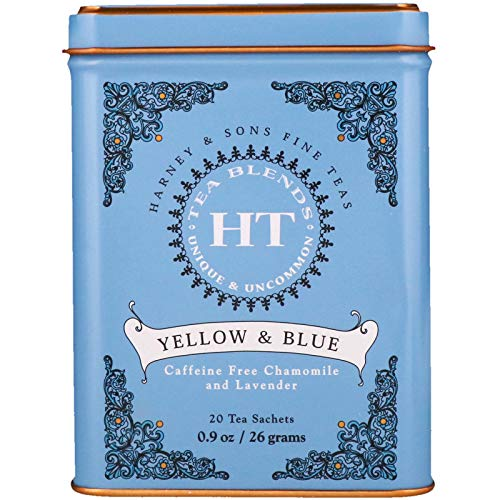 Harney & Sons Master Yellow & Blue Tea Tin - Herbal Blend of Chamomile, Lavender, and Cornflowers - 0.9 Ounces, 20 Sachets 1 Pack