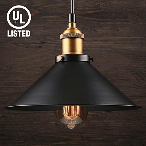 LEONLITE Industrial Hanging 1 Light Pendant, UL-listed, Rustic Farmhouse Style, Matte Black Metal Shade, Retro Vintage Hanging Light, for Dining Room, Bars, Warehouse, E26 Base