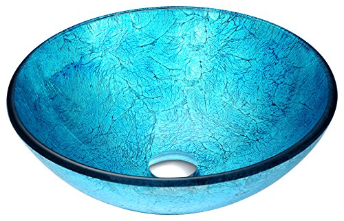 - Modern Tempered Glass Vessel Bathroom Sink in Blue Ice | Top Mount Installation Deco Glass Toilet Sink | Accent LS-AZ047 by ANZZI