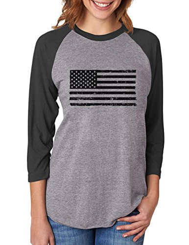 TeeStars Black American Flag - Vintage 4th Of July 3/4 Women Sleeve Baseball Jersey Shirt Large - Black Gray Flag And