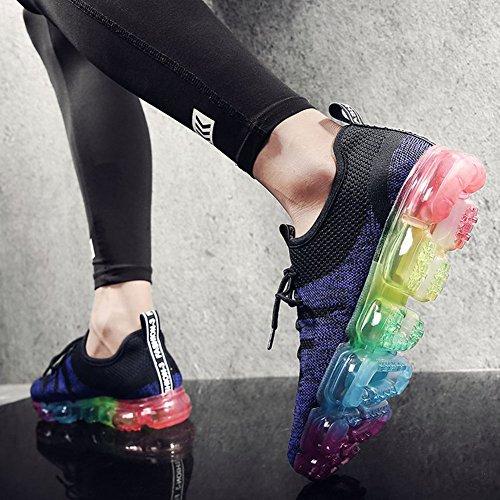 De Zapatos Gimnasia Unisex Zapatillas Hombre Happygo Gris Shoes Negro Mujer Running Púrpura Libre Deportes Respirable Aire wvUtHxp