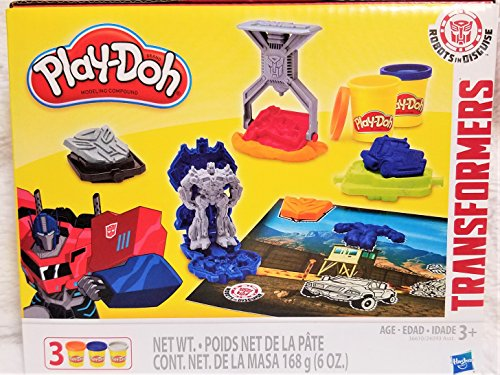 New! Play-Doh Transformers Robots in Disguise 13 Piece Activity Set With Play Mat -
