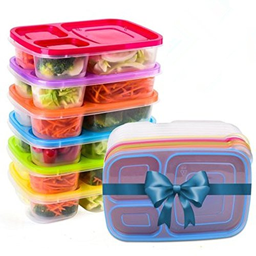 Rainbow Microwave - Meal Prep Containers - Bento Lunch Box - Reusable Plastic Food Storage Containers with Lids-BPA Free, Microwave - 3 Compartment/ 6 Pack /Rainbow Color (6pcs)