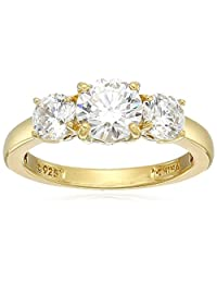 Yellow Gold Plated Sterling Silver Swarovski Zirconia Round 3-Stone Ring