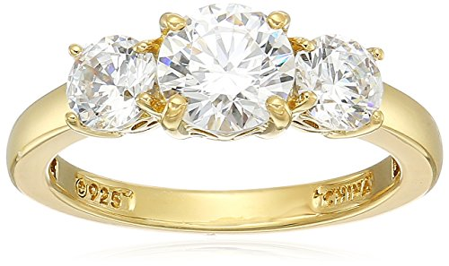 (Yellow-Gold-Plated Sterling Silver Round 3-Stone Ring made with Swarovski Zirconia (2 cttw), Size)