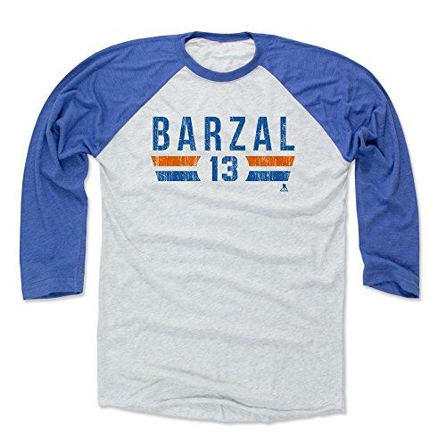 Mathew Barzal Baseball Shirt X-Large Royal/Ash - New York Hockey Fan Apparel - Mathew Barzal New York I Font B