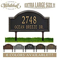 "Metal Address Plaque Personalized Cast Lawn Mounted Providence Arch (Large Option, 22.5"" Wide) Display Your Address and Street Name. Comes with Two Lawn Stakes"