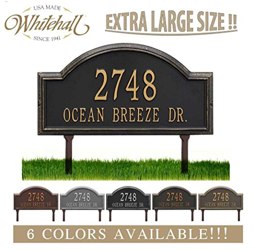 Metal Address Plaque Personalized Cast LAWN MOUNTED Providence Arch (Large Option, 22.5