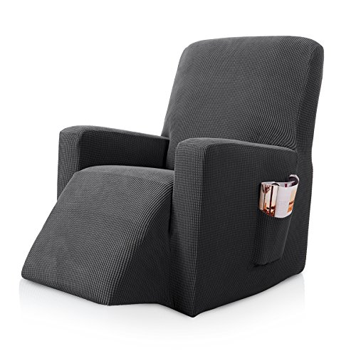 Subrtex Stretch Chair Slipcover Furniture Protector Lazy Boy Covers for Leather and Fabric Sofa with Side Pocket (Recliner, Gray)