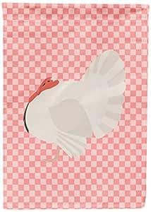 Caroline's Treasures BB7983GF White Holland Turkey Pink Check Garden Flag, Multicolor