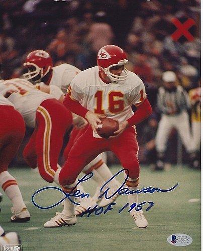 Len Dawson Signed Kansas City Chiefs 8x10 Photo with - Beckett Certified & Hof Inscription (Dawson Accent)