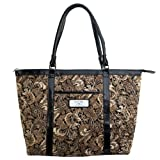 "Cheap Brown Quilted Paisley Tote Bag w/""Faith"" Badge"