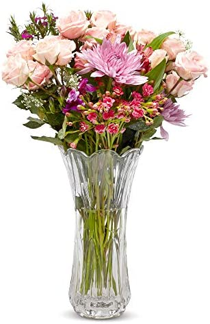 Crystal Flower Vase, Tall Glass Bouquet Holder, Glass Vases For Decor, Clear Flower Vase for Floral Arrangements, Centerpieces, Weddings, Housewarming, Kitchen Home 11.25 x 4 -Flowers Not Included