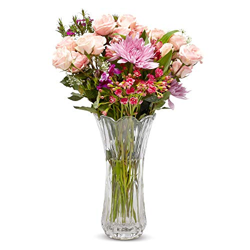 Large Glass Crystal Vase for Flowers -Crystal Flower Vase Home Kitchen-Wedding Decorative Vases-Kitchen Decor-Home Decor Elegant Classy Holder for Flowers Beautiful Centerpiece