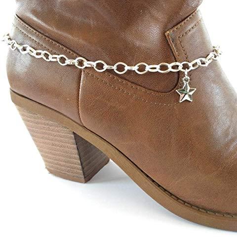 Silver Star Boot Bracelet Chain 15 Inch Adj (Cowboy Boot Bracelet)
