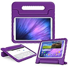 Samsung Galaxy Tab E 9.6 kids case, COOPER DYNAMO Rugged Heavy Duty Children's Boys Girls Bumper Drop Proof Protective Carry Case Cover + Handle, Stand & Screen Protector for SM-T560 T561 Purple