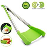 #3: Spatula Tongs 2 in 1 Kitchen Silicone Cooking Tongs - 12 Inch Stainless Steel Frame, Non-Stick, Heat Resistant, Dishwasher Safe, BBQ Salad Serving Grill, As Seen on TV by MOOKZZ