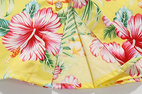 SSLR Big Boy's Hibiscus Cotton Short Sleeve Casual Button Down Hawaiian Shirt (X-Large(18-20), Bright Yellow) by SSLR (Image #6)