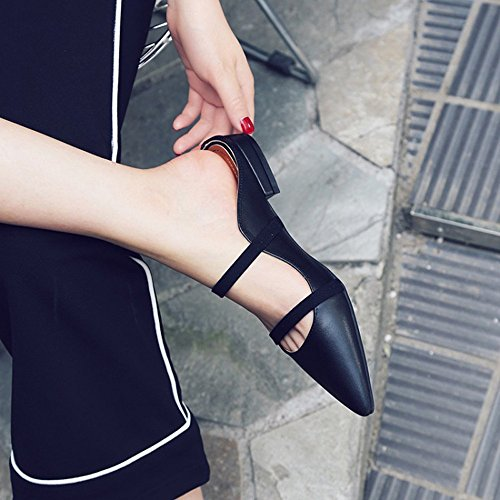 Black The 5 Leather US of with Rough Layer First Black Lazy Head Size Dragging Leather Color Pointed Shoes ZxrZRBq0wO