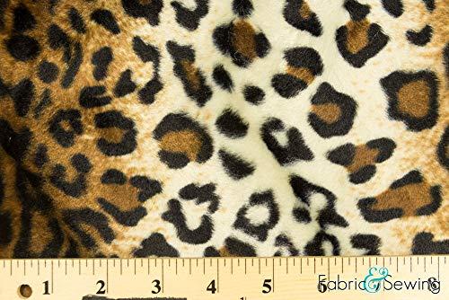 Brown Leopard Animal Print Velboa Plush Faux Fake Fur Fabric Polyester 14 oz ()