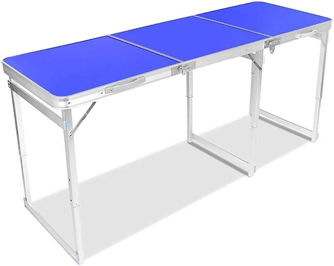 Altura Ajustable Mesa de Camping Aleación de Aluminio Plegable Mesa de Barbacoa Ligero Portátil Escritorio Largo Mesa de Picnic Color Puede Elegir,Blue: Amazon.es: Hogar