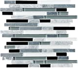 10 Sq Ft - Bliss Midnight Stone and Glass Linear Mosaic Tiles - Kitchen Backsplash/Tub Surround