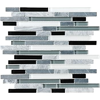 Sample Bliss Iceland Marble And Glass Linear Mosaic
