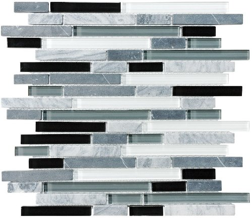10 Sq Ft - Bliss Midnight Stone and Glass Linear Mosaic Tiles - Kitchen Backsplash/Tub Surround by Rocky Point Tile