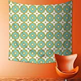 Art Hippie Tapestry Decor Floral Shaped Soft Pastel Toned Ornate Islamic Mosaic Style Pattern Khaki Turquoise Bedspread Picnic Bedsheet Tapestry