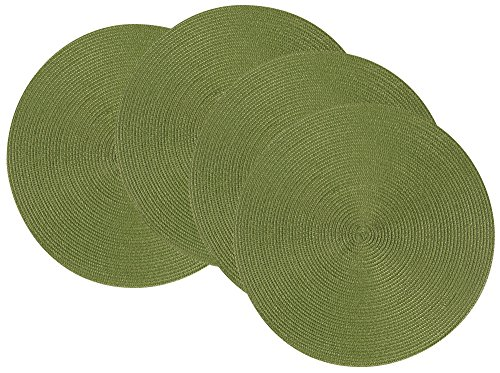 Now Designs Disko Round Placemats, Set of Four, Fir Green