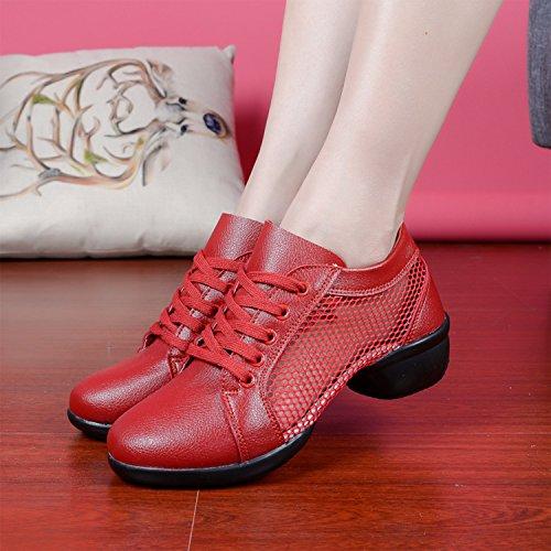 Azbro Mujer Zapato de Baile con Malla Sulea División con Cordón-arriba Rojo