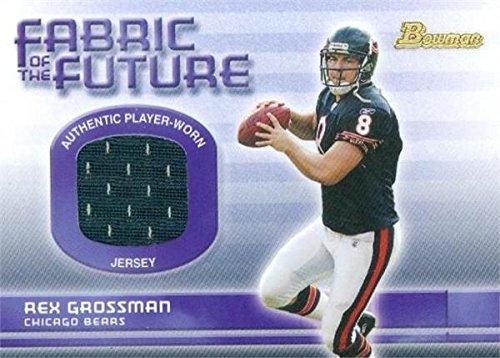 Rex Grossman Autographed Football - Rex Grossman player worn jersey patch football card (Chicago Bears) 2003 Bowman Fabric #FARG Rookie