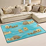 WellLee Animal Area Rug,Otters with Cubs in Water River Floor Rug Non-Slip Doormat for Living Dining Dorm Room Bedroom Decor 31x20 inch