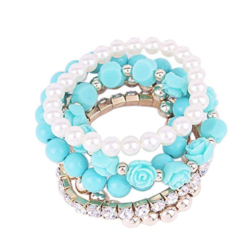 [Willsa Shiny Rhinestone Rose Pearls Crystal Elastic Bracelet Jewelry 1 Set (Blue)] (Pearl Id Bracelet)