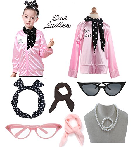 Child 1950s 50's Pink Ladies Jacket Outifit Accessories