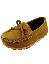 iLory Boy's Girl's Casual Suede Leather Slip-on Loafers Oxford Flat Boat Shoes Toddler Shoes